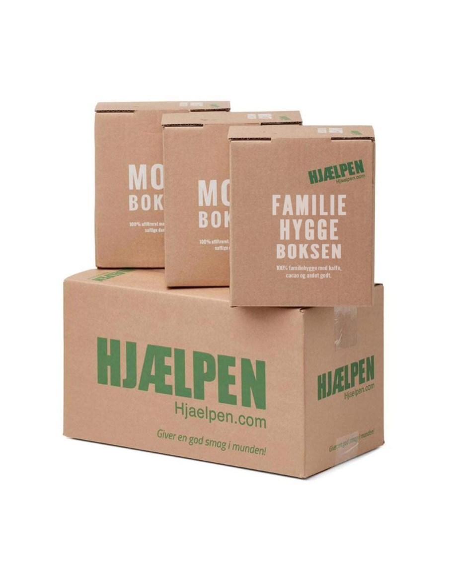 Hjælpen kasse med familie hyggeboks og mostbokse